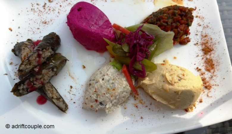 The Mezze with Yaprak Sarma and dips.