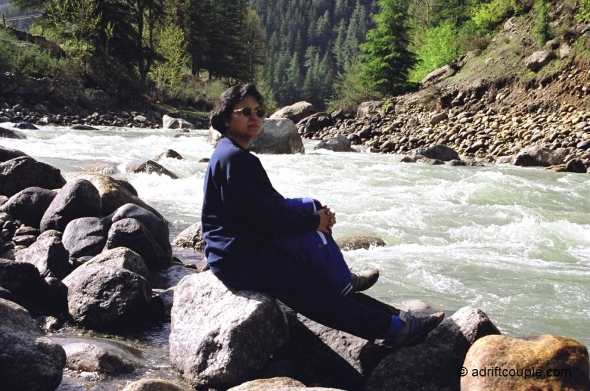 Sitting by the Baspa river in Sangla Valley