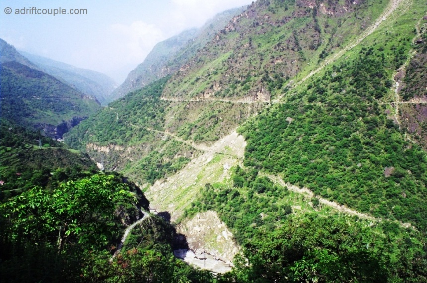Winding mountain road from Shimla to Sangla