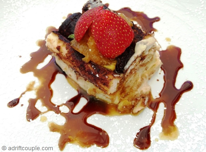 Tiramisu with coffee sauce and caramelized oranges at Mont Rochelle, Franschhoek