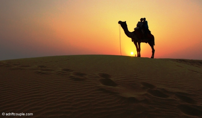 Camel ride at sunset at the Sam Sand Dunes in Jaisalmer