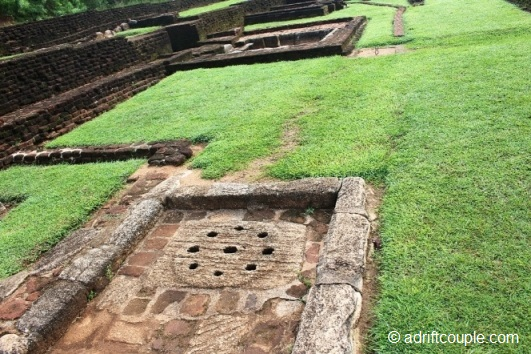 Elaborate network of  water pavilions, pools, courtyards and water courses at Sigiriya.