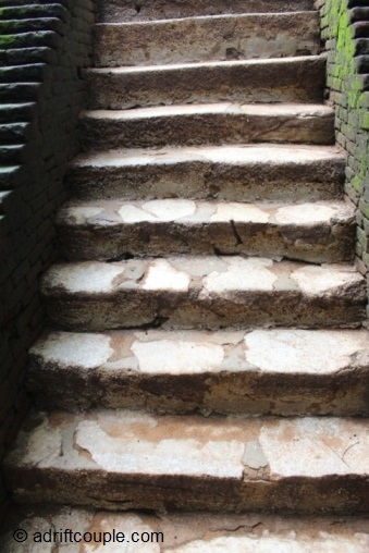 The marble staircase leading to the climb up the Sigiriya Rock Fortress