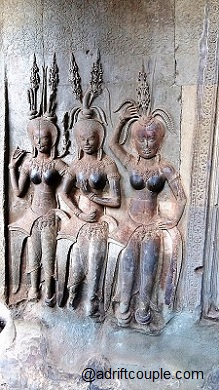 These graceful celestial dancers line the walls of the interior gallery of Angkor Wat.