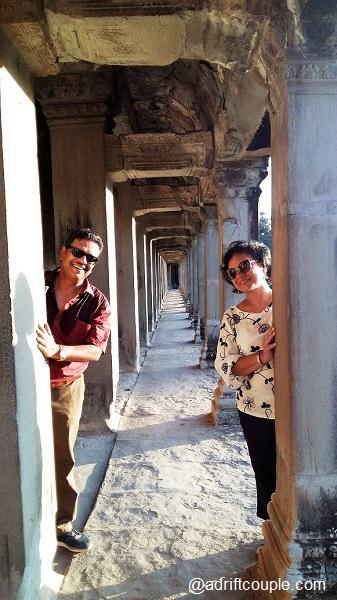 Pillared Corridor in Angkor Wat Complex, Siem Reap, Cambodia.