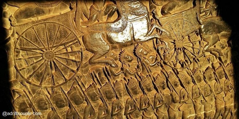 West Gallery Bas Relief of Angkor Wat – Battle of Kurukshetra from the Hindu epic Mahabharata