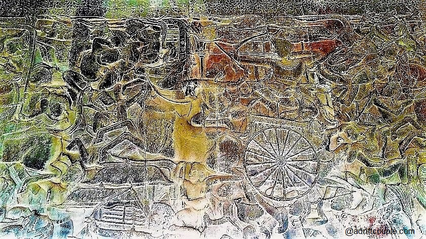 Battle of Kurukshetra Bas Relief in Angkor Wat with Arjuna and Krishna.