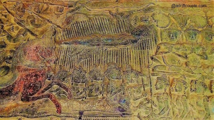 Angkor Wat Bas Reliefs: West Gallery - Battle of Kurukshetra with Bhishma on his deathbed of arrows.