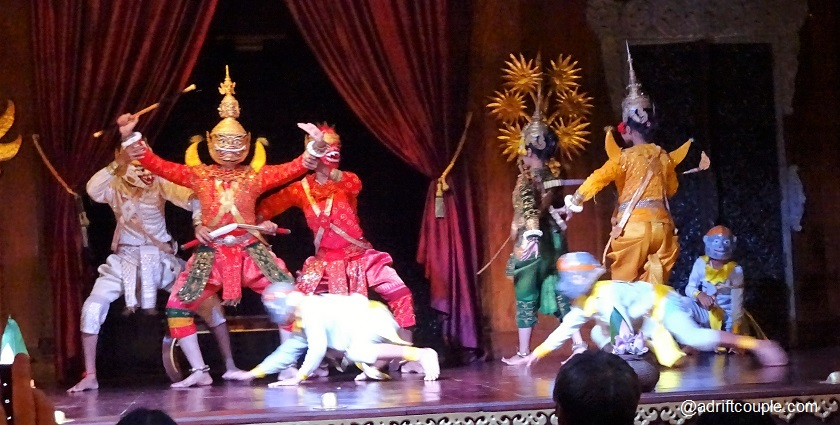 A battle scene from Khmer Ramayana in Apsara Theatre, Siem Reap, Cambodia.