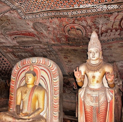 Dambulla and its 100 BC temples housed in ancient caves with multiple statues and paintings of the Buddha.