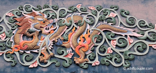 Dragons carved on wood panels in Ngagyur Monastery, Bir.