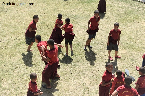 Children playing football in Sherabling Monastery Complex.