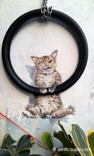 Kitty on Tyre Penang Street Art