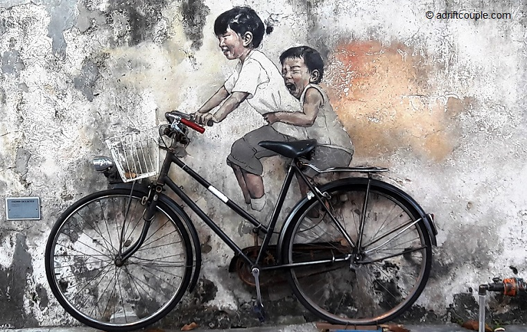 Little Children on Bicycle, Penang Street Art, Malaysia