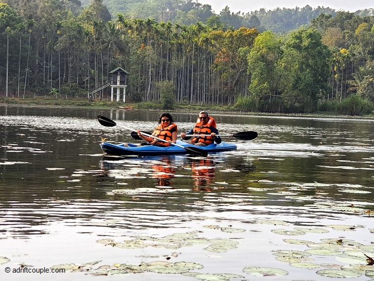Kayaking in Karlad Lake, Wayanad, Kerala.